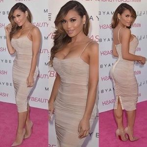 House of CB Ruched Nude Dress